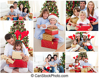 familles, collage, ensemble, célébrer, maison, noël