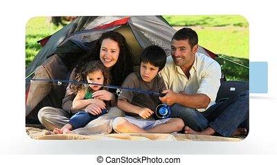 familles, nature, montage, quelques-uns, ensemble, couples, moments, apprécier