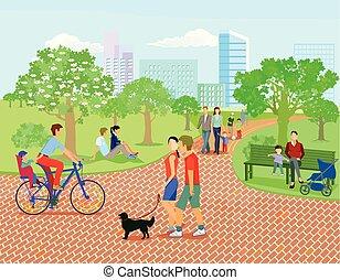 familles, parc, relâcher