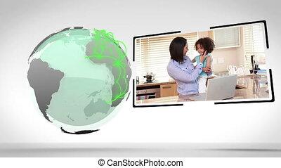 familles, tout, mondiale, conne, autour de
