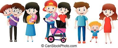familles, trois enfants