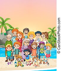Familly members standing on the beach