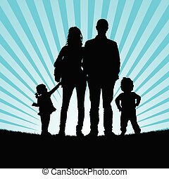 familly silhouette in nature illustration - familly...