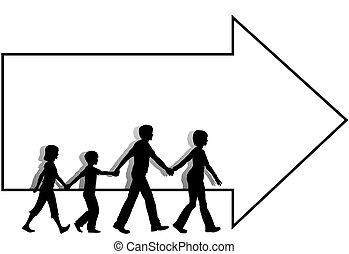 =family, お母さん, お父さん, 子供, 歩きなさい, へ, 続きなさい, 矢, コピースペース