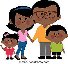family., イラスト, アメリカ人, ベクトル, アフリカ, 幸せ