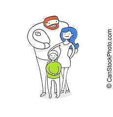 family., 息子, 母, 父, 女の赤ん坊, 幸せ
