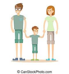 family., 息子, 父, 母, 幸せ, 一緒に。