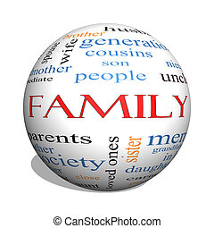 Family 3D sphere Word Cloud Concept with great terms such as...