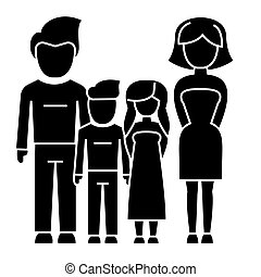 family - 4 persons - father, mother, son, daughter icon, vector illustration, black sign on isolated background