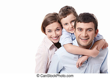 A happy family on white background