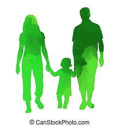 family., abstratos, vetorial, verde, silueta