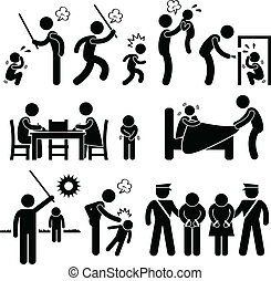 A set of pictograms representing children being abused by father and family.