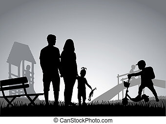 Family actively spending time.