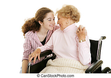 Family Affection - Teen girl visiting her elderly...