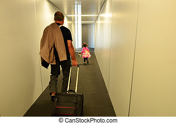 Family air travel in the airport
