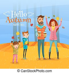 Family And Autumn Season Illustration - Happy family with...