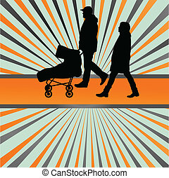 Family and baby stroller vector burst background