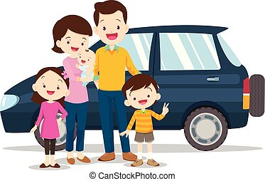 Happy family with a car on a white background