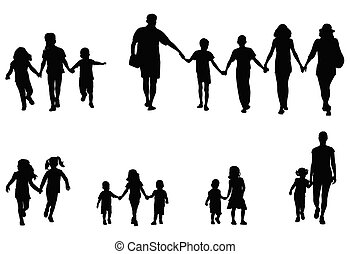 family and children holding hands silhouettes collection