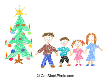 Happy family with decorated Christmas tree. Childs drawing made with pastel crayons