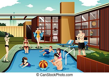 Family and friends spending time in the backyard swimming pool