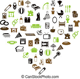 family and home icons in heart