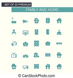Family and Home icons set vector