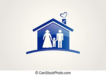 Family and house logo vector