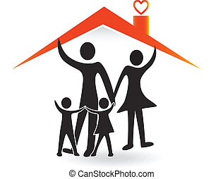 Family and house of love logo vector