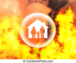 Family and house on fire