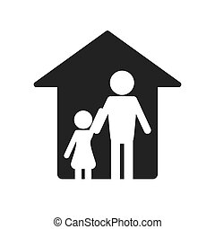 family and house pictogram icon - flat design family and...