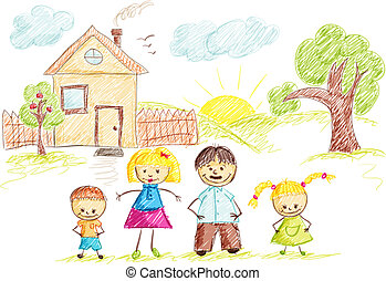 Family and House sketch color
