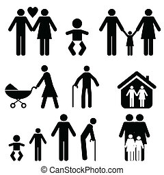 Family and life icon set
