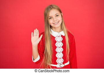 family and love. childrens day. small girl child. School education. Good parenting. Child care. happy little girl on red background. Childhood happiness. hello. Having fun