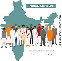 Family and social concept. Group indian young and adult people standing together in different traditional national clothes on background with map of India in flat style. Vector illustration.