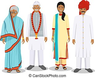 Family and social concept. Indian person generations at different ages. Set of adult people in traditional national clothes. Father, mother, grandmother, grandfather standing together. Vector illustration.