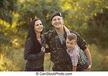 Family and soldier