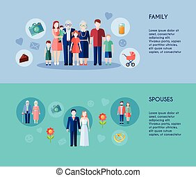 Family And Spouses Banners - Two horizontal banners of...