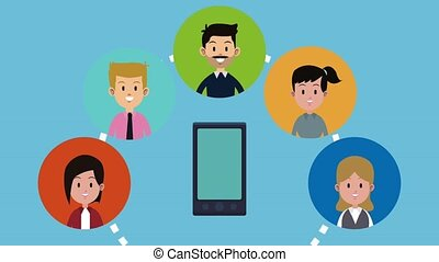 Family and technology HD animation