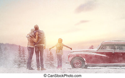 family and winter season - Toward adventure! Happy family...