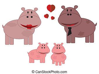 Family animals, hippo