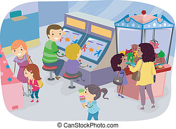 Family Arcade - Illustration of a Family Enjoying a Day in...