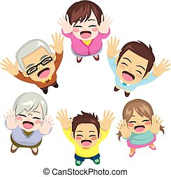 Family Arms Up Happy