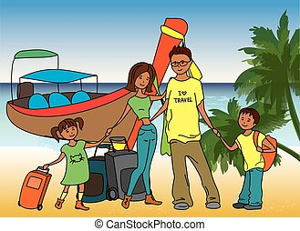 Family arrived on holiday on  on the beach