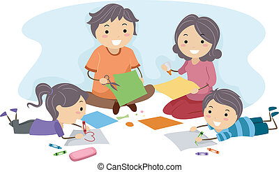 Family Art - Illustration of a Family Making Paper Crafts...