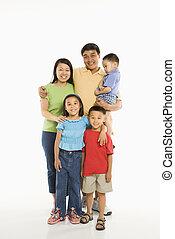 family., asiatico, felice