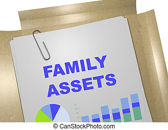 3D illustration of 'FAMILY ASSETS' title on business document. Business concept.
