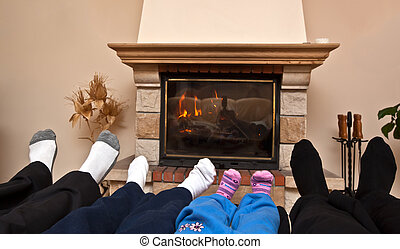 Family at a fireplace