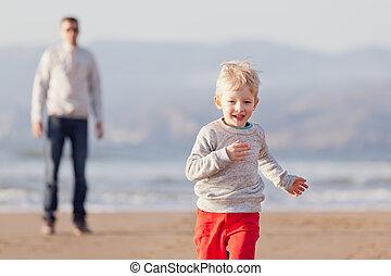 family at californian beach
