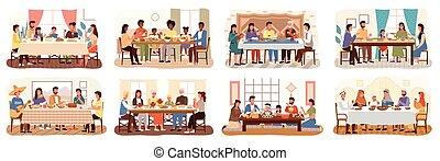 Family at festive dinner set. Children, parents and grandparents eating national dishes together